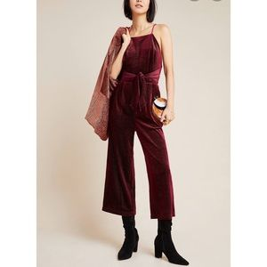 Anthropologie Greylin Rouge Velvet Jumpsuit